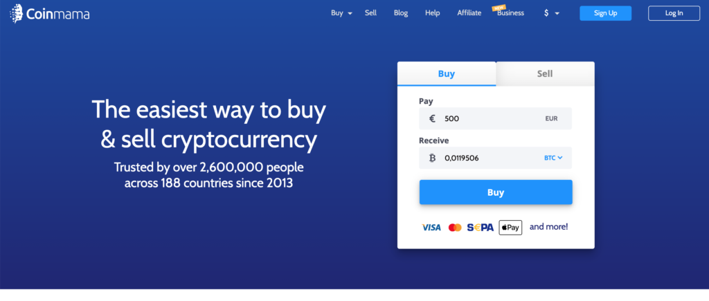 CoinMama Landing Page Example